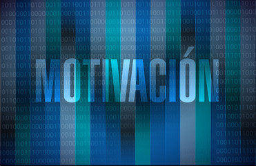 Motivation binary sign in Spanish concept