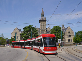 Streetcars or trams are a major form of public transit, with dedicated rights of way to allow them to move faster without interference from cars.