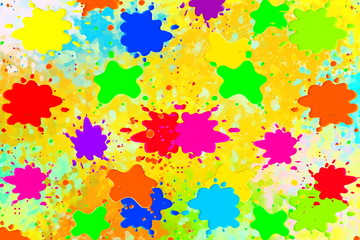 multicolored paint or color splashes or dripping