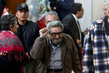 Shining Path founder Abimael Guzman attends trial at Ancon prison in Callao, Peru