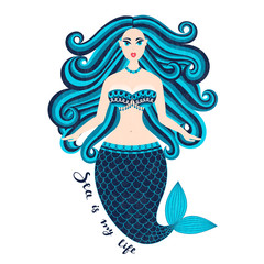 Mermaid. Hand drawn sea girl. Beautiful woman with tail. Marine summer design. Nixie with wild hair. Summertime. Nymph. Seamaid. Undine. Poster, invitation, card, cover, banner, Vector, eps10
