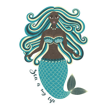 Mermaid. African American. Hand drawn sea girl. Mulatto. Beautiful woman with tail. Marine summer design. Nixie with wild hair. Summertime. Poster, invitation, card, cover, banner. Vector, eps10