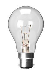Incandescent tungsten filament light bulb with bayonet fitting, isolated on a white background