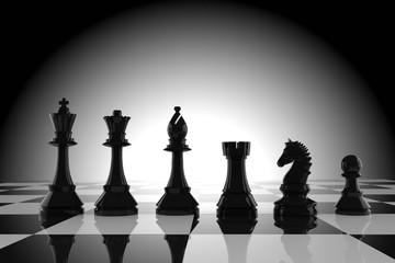 black chess figures on board in 3d rendering
