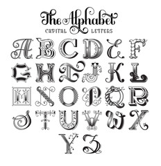 Retro decorative font. Original high-detalized alphabet. Capital letters. EPS 10 vector.