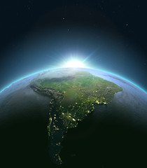 South America from space during sunrise