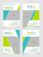 Set of abstract trendy geometric background template for cover, leaflet, brochure, poster in A4 size