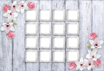 Retro photo frames with magnolia flowers and roses