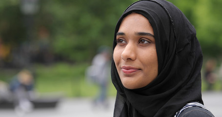Young muslim woman wearing hijab face portrait