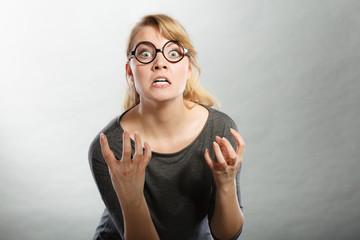 Annoyed nervous woman portrait.