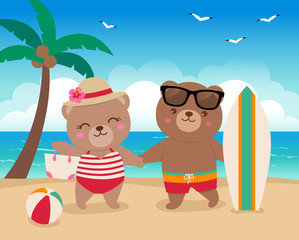 Cute bears couple standing on the beach in summer holidays concept