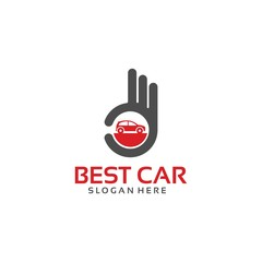 Best Car Logo Template with Hand Gesture vector illustration