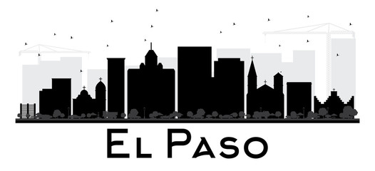 El Paso City skyline black and white silhouette.