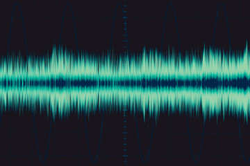 electronic wave. sound frequency wave. oscilloscope digital waveform signal on green screen illustration.