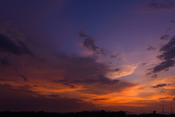 Beautiful dramatic natural sunset twilight sky at dusk,abstract evening view background.