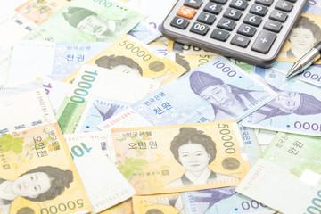 South Korea won money bills in Different value