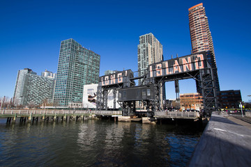 iconic gantries of Gantry State Park and buildings with blue sky