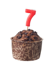 Chocolate muffin with birthday candle for seven year old