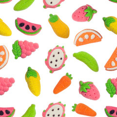 Seamless pattern of fruit and vegetable shaped gummy candy