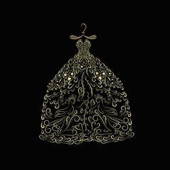 Golden dress from elegant designs, on a gold forged hanger