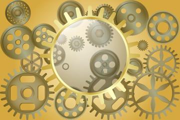 Metallic gear wheels as industrial, technical or steampunk background