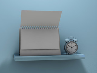 Blank calendar on the shelf. 3D rendering