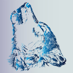 Sketch of a tattoo howling wolf. An animal is a predator. Blue gradient is an idea for a tattoo