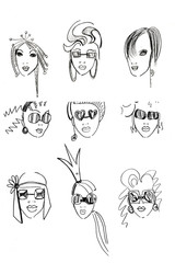 pencil head outline female models-2