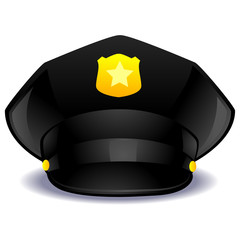 Vector Illustration of a Black Police Cap