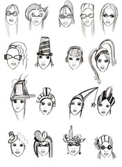 pencil head outline female models-10