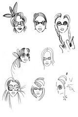 pencil head outline female models-11