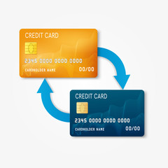 Two bank plastic credit card with arrows - non-cash money transfer and banking transaction concept. Vector illustration.