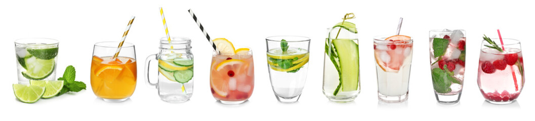 Different drinks in glasses on white background. Ideas for summer cocktails Wall mural