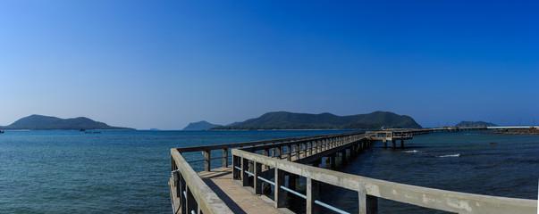 Thailand seascape - panorama bridge on the sea