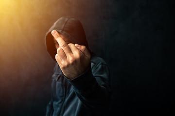 Middle finger, rude gesture Fototapete