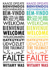 """WELCOME"" Vertical Banner Tag Cloud translated into many languages"