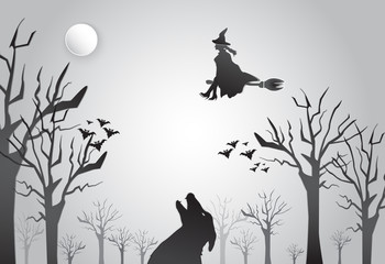 Young witch flying with wolf Halloween background