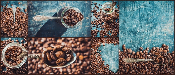 collage of coffee. a lot of pictures. selective focus.