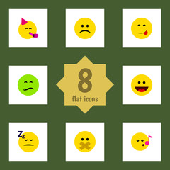 Flat Expression Set Of Hush, Asleep, Laugh And Other Vector Objects. Also Includes Asleep, Face, Fun Elements.