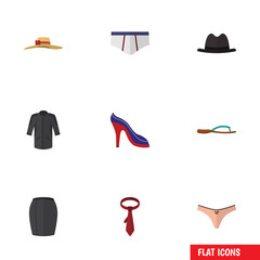 Flat Garment Set Of Stylish Apparel, Cravat, Uniform And Other Vector Objects. Also Includes Cravat, Underclothes, Heeled Elements.