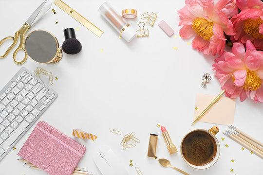 Flat lay, top view office table desk . feminine desk workspace