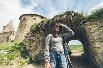 yang pretty woman tourist in front of castle
