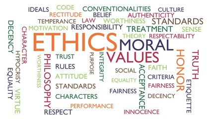 Ethics, moral, values word tag cloud. 3D rendering, white variant.
