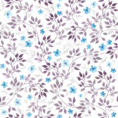 Seamless vintage floral background with cute ditsy flowers and leaves. Watercolour painted art