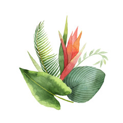 Watercolor bouquet tropical leaves and flowers isolated on white background.