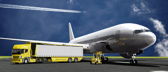 LKW vor einem Verkehrsflugzeug auf dem Vorfeld
