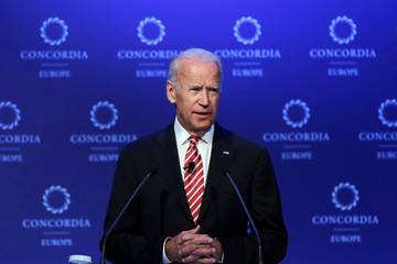 U.S. former Vice President Joe Biden delivers a speech during the Concordia Europe Summit in Athens