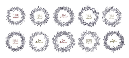 floral round wreaths set. hand drawn frames, vector collection.
