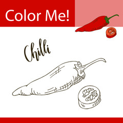 Education coloring page with vegetable. Hand drawn vector illustration of chilli