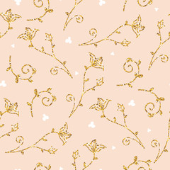 Light seamless pattern with golden glitter texture leafs and flowers. Background, fabric, textile